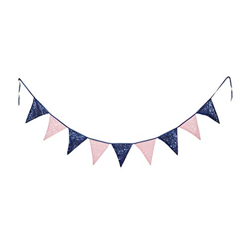 PartyDelight Pink and Navy Blue Sequin Bunting, Multicolor Fabric Triangle Flag Bunting for Party,Wedding Sequin Bunting/Garland, Outdoor Bunting Flag(9 Flags in one Bunting, 2 Packs)]()