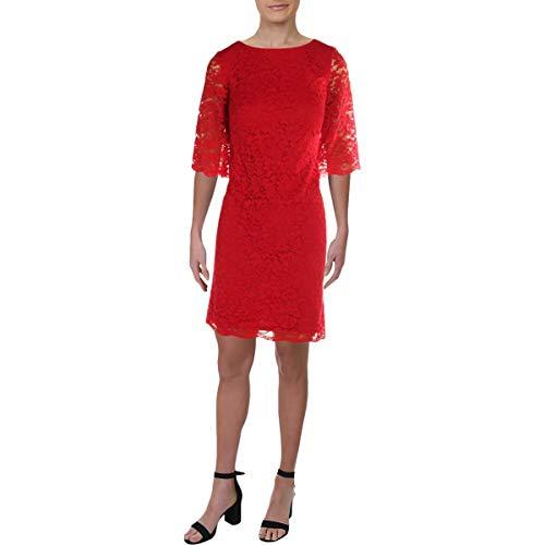 LAUREN RALPH LAUREN Womens Jillias Lace Jewel Neck Party Dress Red 12