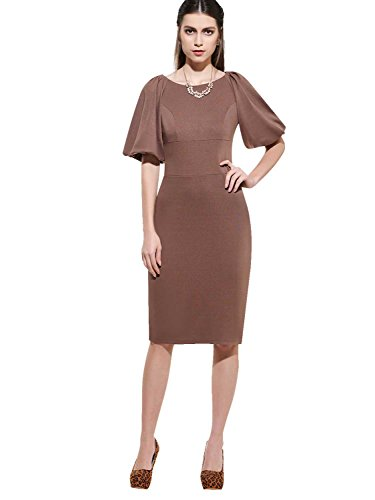 Tanpell Sheath Party Dress Lantern Sleeve Elegant Mother of the Bride Dress Casual Dress Brown M