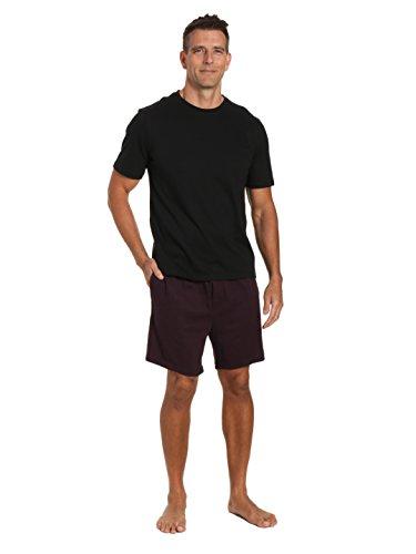 Twin Set Stripe - Twin Boat Mens Knit Short Lounge Set - Stripe Fig Short with Black Top - Medium