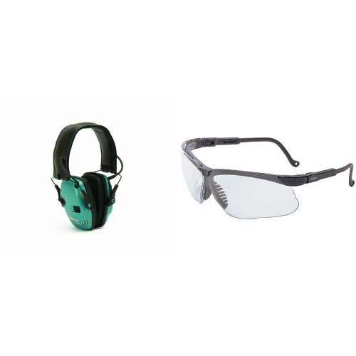 Howard Leight by Honeywell Teal Impact Sport Sound Amplification Electronic Earmuff with Clear Lens Safety Eyewear by Honeywell