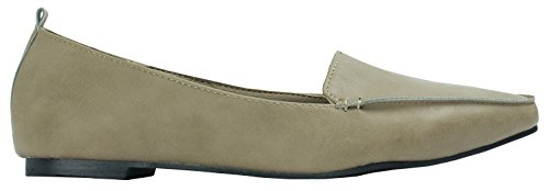 Leather Toe Womens Shoes Beige AnnaKastle Slip Flat Pointy Dark Loafer On Vegan Chic dxXaqAa