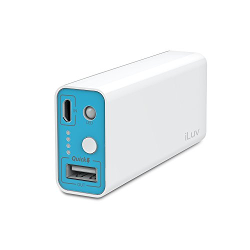 iLuv 5200 mAh Portable Power Bank with Smart Charging Technology, Safety Design, LED Indicators, and LED Flashlight for iPhone, iPad, Smartphones, Tablets, and Other USB Devices