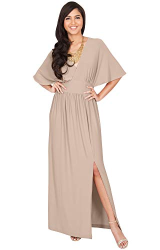 KOH KOH Plus Size Womens Long Sexy Kimono Short Sleeve Slit Split V-Neck Party Cocktail Evening Bridesmaid Wedding Guest Sun Gown Gowns Maxi Dress Dresses for Women, Tan Light Brown 2XL 18-20