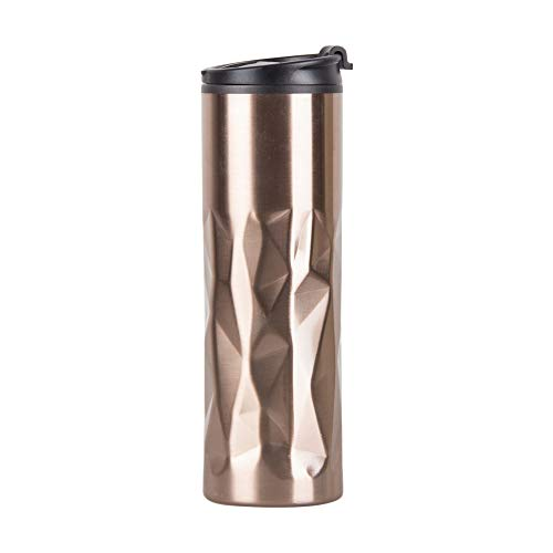 15oz Coffee Travel Mug Double Wall – Insulated to go Coffee Cups with Travel Lids – Stainless Steel Leak Proof BPA Free Sports Wide Mouth Water Bottle-Gold