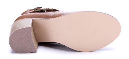 Schuhe Blockabsatz Klassische Stiefeletten Stiefel Boots Damen cm Schnalle Khaki 7 Schuhtempel24 fqY5wOE