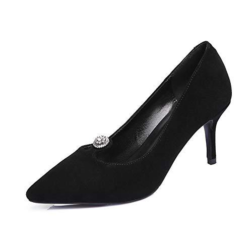amp; ZHZNVX Stiletto Women's Pink Summer Black Shoes Heels Spring Heel Comfort Suede Black dII8rqw