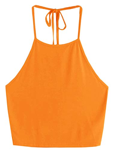 Romwe Women's Casual Cute Sleeveless Vest Halter Cami Crop Top Orange S