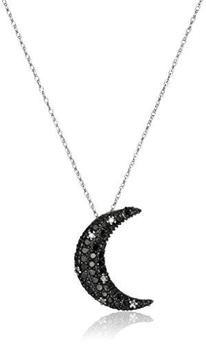 10k White Gold Black and White Diamond Moon Pendant Necklace (9/10 cttw, I-J Color, I2-I3 Clarity) Diamond Moon Necklace