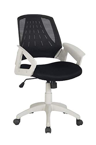 Office Eiffel Tower Shape Mid Back Task Chair with Fashionable Armrests, Black and White