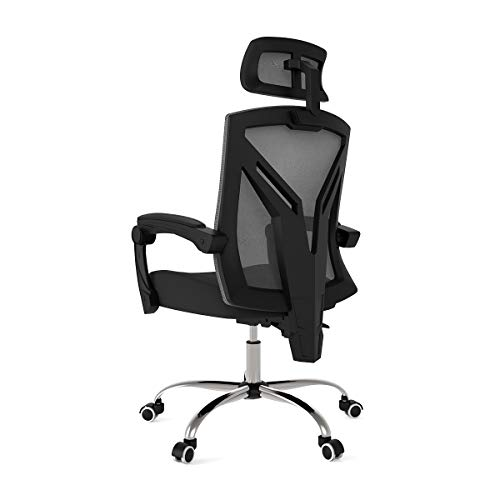 Hbada Ergonomic Office Chair – Modern High-Back Desk Chair – Reclining Computer Chair with Lumbar Support – Adjustable Seat Cushion & Headrest- Breathable Mesh Back – Black