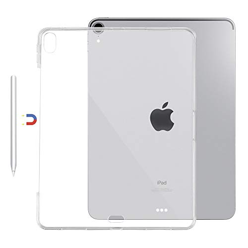 Ultra-Thin Flexible Soft TPU Transparent Back Cover Case Only Compatible for New iPad Pro 12.9 inch 2018 Release 3rd Generation,Support Apple Pencil Charging,Crystal Clear