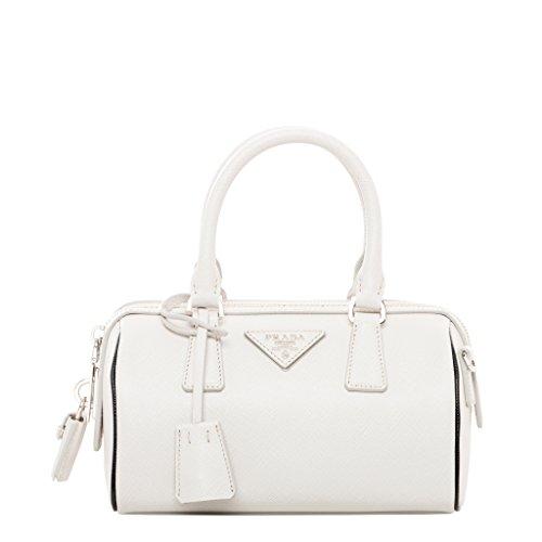 Prada Women's Mini Saffiano Top Handle Bag Stone White