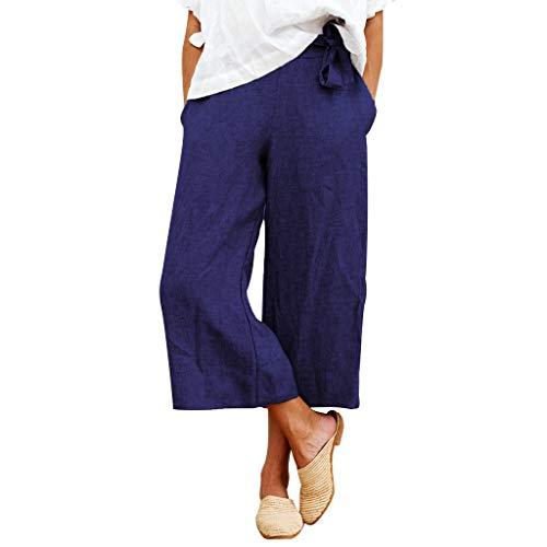 LENXH Cotton and Linen Cropped Trousers Ladies Wide Leg Pants Solid Color Bandage Pants Bow Pants Navy