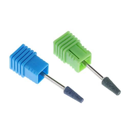 変化細心の売るネイルアート ドリルビット 研削ヘッド ネイル グラインド ヘッド 耐久性 耐腐食性 2個 全6選択 - 緑+青