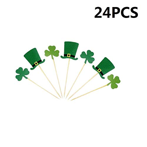 24pcs Shamrock Clover Cake Toppers Green Top Hat Cupcake Picks Toppers for St Patrick's Day Party Decorations