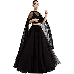 SHIVGANGA FASHION Women's Plane Indian Beautiful Net Lehenga Choli (Black, Free Size)