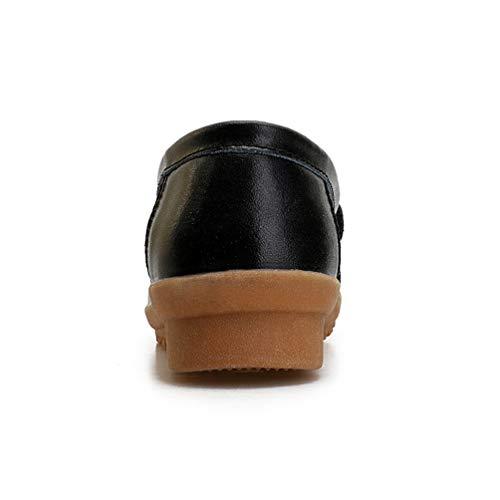 De Las Madre Bajas Negro Informal Las De Mocasines Zapatos CuñAs SeñOras Hebilla Planas De De TacóN Bajo Enfermera Primavera Mocasines Calzado Cuero De Mujeres Vaca gYWRSWaF