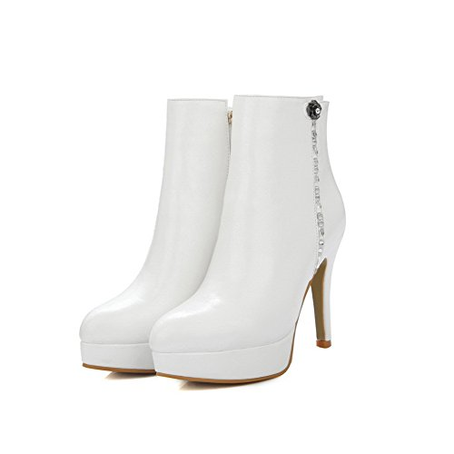 Soft Material top Heels Toe High White Zipper Closed Pointed AmoonyFashion Low Women's Boots 15nwqvx6E