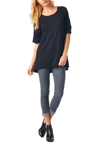 82 Days Womens Rayon Span High   Low Short Sleeves Tunic   Black S
