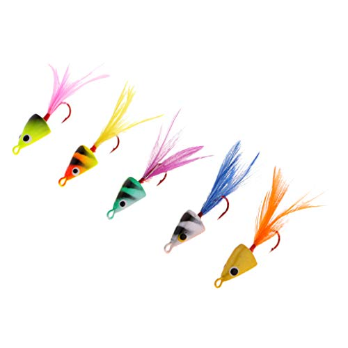 Homyl 5X Señuelo Artificial Bucktail Jigs Plomado Head Hielo Pesca Jig 5g Pargo Lenguado Cobia Trucha, Almizcle - S