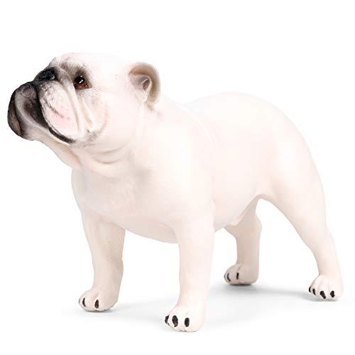 Kolobok - Farm Animals Action Figures - Dogs - Standing Bulldog - Zoo Pets Educational Toys - White
