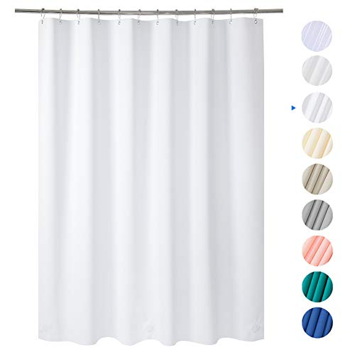 Amazer 72' W x 72' H White EVA 8G Shower Curtain with Heavy Duty Clear Stones and Rustproof Grommet Holes, Waterproof Thick Bathroom Plastic Shower Curtains Without Chemical Odor