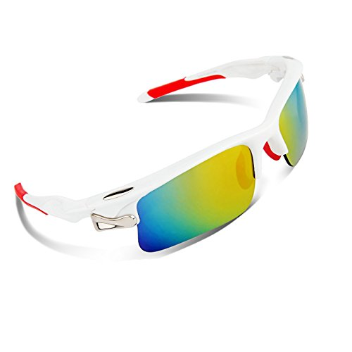76655aba5a8 RIVBOS 308 Polarized Sports Sunglasses with 5 Set Interchangeable Lenses  for Cycling (White Red) - Buy Online in UAE.