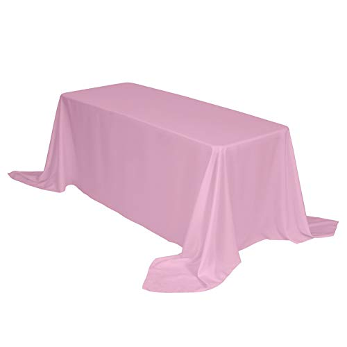 Mikash Rectangr Table Cloth 90 x 156 inch Polyester Tablecloth Table Cover for Wedding Restaurant Party Banquet Tion, Pink | 90x156 inch-Tablecloth | Model WDDNG - 725 ()