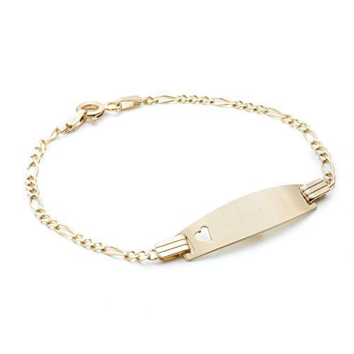 Floreo 5 1/2 Inch 10k Gold Figaro ID Bracelet with Small Heart for Children 2mm (Baby Gold Bracelet)