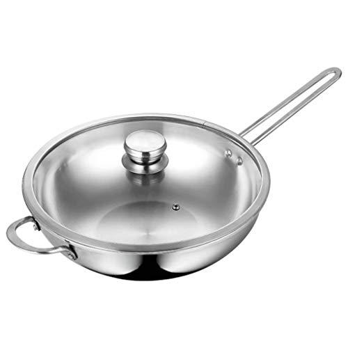 APTS-pot Olla de Sopa de Acero Inoxidable Grueso Wok 32cm Compuesto de Tres Capas Wok de Acero Cocina de inducción Wok de Gas: Amazon.es: Hogar