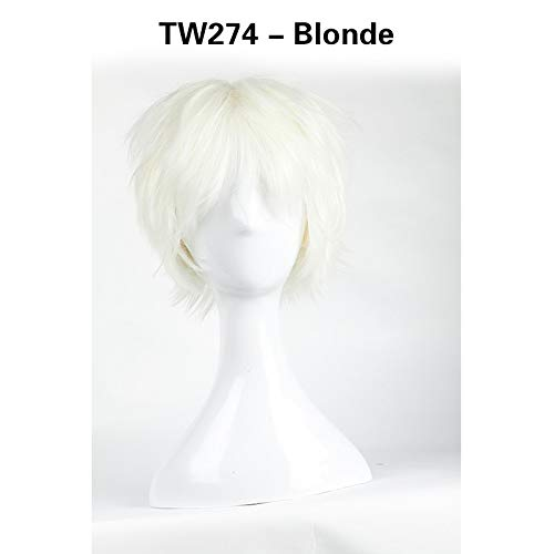 Men Straight Thick Synthetic Full Short Cosplay Wig Party Hair Halloween Heat Resistant Linen Blonde ()