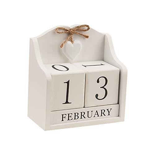 (Obling Wood Blocks Perpetual Calendar Desk Accessory Chic Day Month Number for Home and Office (Creamy White))