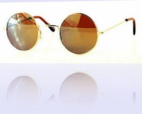 80's – 'Lennon II' Hippy Style Round Sunglasses – Gold