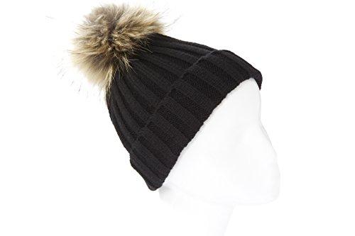 nd ribbed raccoon fur pom pom hat (Black/beige) ()