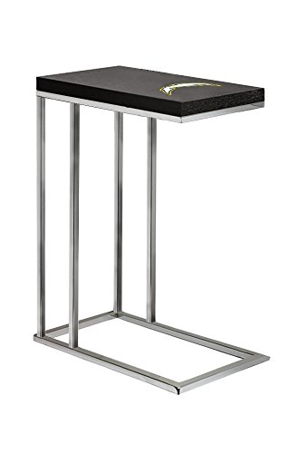 Glass Logo Under Team (Black Laminate (Formica) and Chrome Finish Slide-Under TV Tray/End Table with Your Choice of Football Team Logo (Chargers))