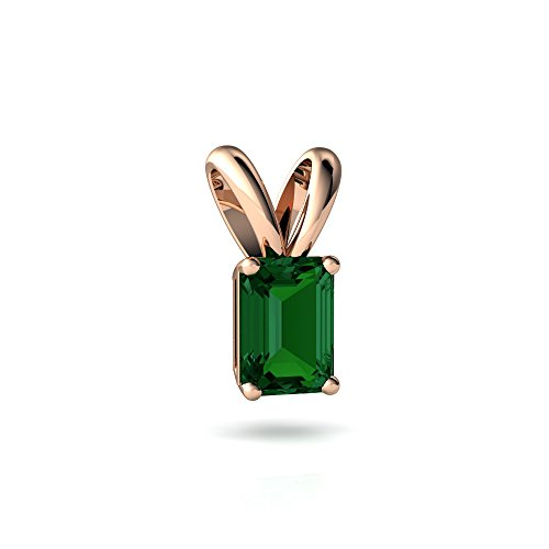 14kt Rose Gold Lab Emerald 7x5mm Emerald_Cut Solitaire Pendant