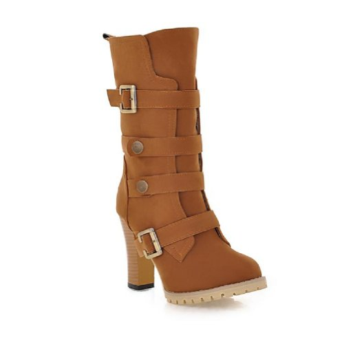 Charm Foot Fashion Womens Platform High Heel Martin Boots Chukka Boots Dark yellow