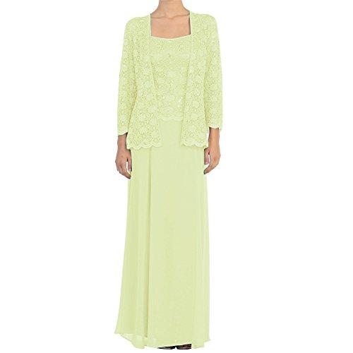 mit Mutter Chiffon Spitze lange Hellgelb Braut Wraps Jacken HWAN Kleider Kleid der formale Aqdawwg8