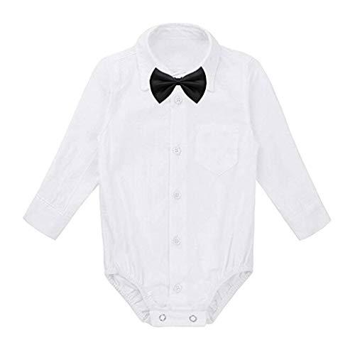 Luonita Baby Boys Kid Infant Newborn Formal Gentleman Shirt Romper Bodysuit Wedding Party Outfits with Tie -