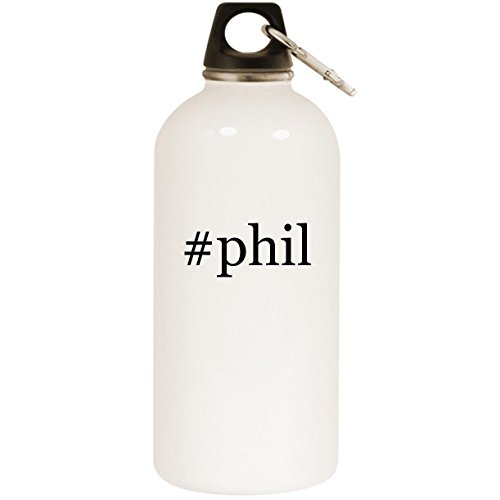 #phil - White Hashtag 20oz Stainless Steel Water Bottle with Carabiner
