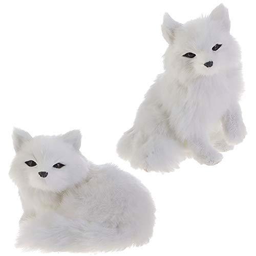 RAZ Imports Fox Figurines/Christmas Ornaments - Set of 2 Faux Fur Fox Ornaments - Fur Christmas Ornaments