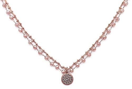 (Catherine Popesco Dark Grey with Champagne Beaded Swarovski Crystal Goldtone Layered Necklace)