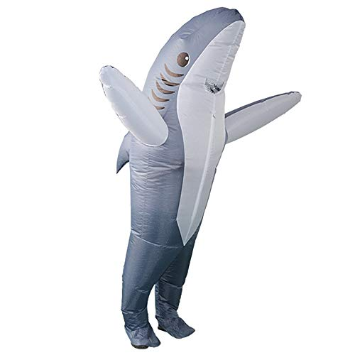 HHARTS Adult Shark Inflatable Costume Funny Animal Blow Up Costume for Fancy Dress Halloween Cosplay Party Christmas (Grey)