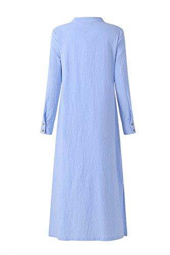 Le Blu Casual Manica Vestiti Lunga Vestono Donne Taglia Camicia Di Cotone Estiva rqrTFP