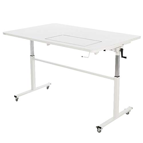 Arrow K9111 Tasmanian Kangaroo Sewing Table for Sewing, Cutting, Quilting, and Crafting, Portable with Wheels and Lift, White Finish