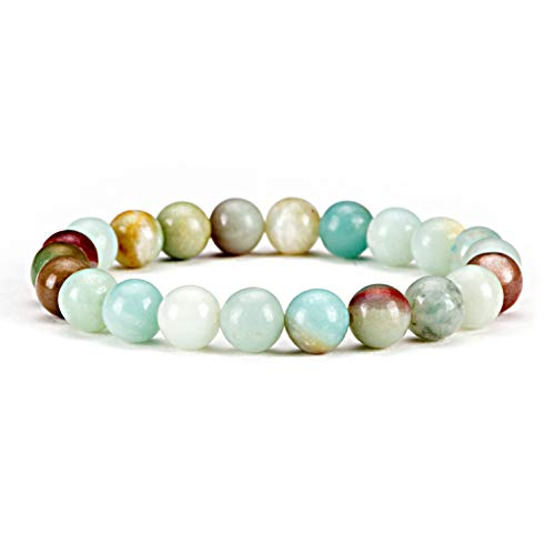 Cherry Tree Collection Gemstone Beaded Stretch Bracelet 8mm Round Beads | Small (Amazonite - Multi Color) ()