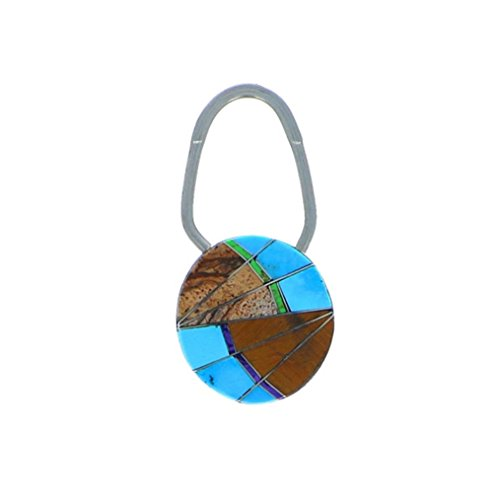 Sterling Silver 925 Multi Stone Inlay Keychain