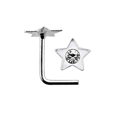 White Jeweled Flat Star Top 22 Gauge Silver L Shape - L Bend Nose Stud Nose Pin ()