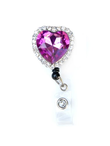 Colorful Diamond Heart Rhinestone Retractable Badge Reel / ID Badge Holder (Pink) Photo #2